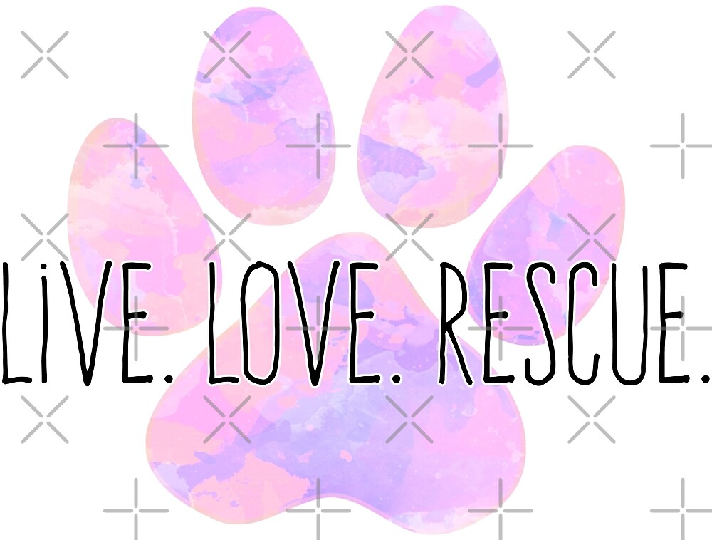 Live Love Rescue Dog Paw by NestToNest