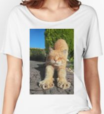 Ginger cat stretching on garden path Women's Relaxed Fit T-Shirt