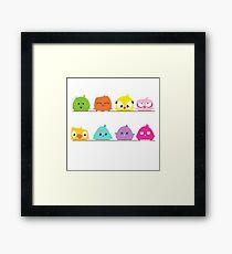 Cute funny cartoon birds Framed Print
