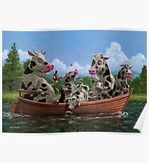 Cartoon Cow Family on Boating Holiday Poster