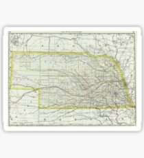 Vintage Map of Nebraska (1889)  Sticker