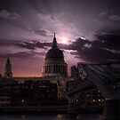 St Pauls Cathedral in the Moonlight, London UK by Steven  Sandner