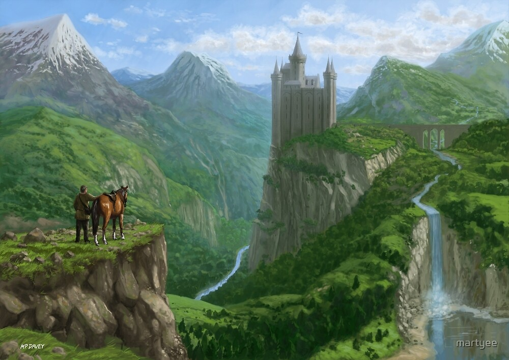 Traveller in landscape with distant Castle by martyee