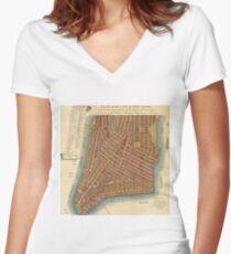Camiseta entallada de cuello en V Vintage Map of Lower New York City (1807)