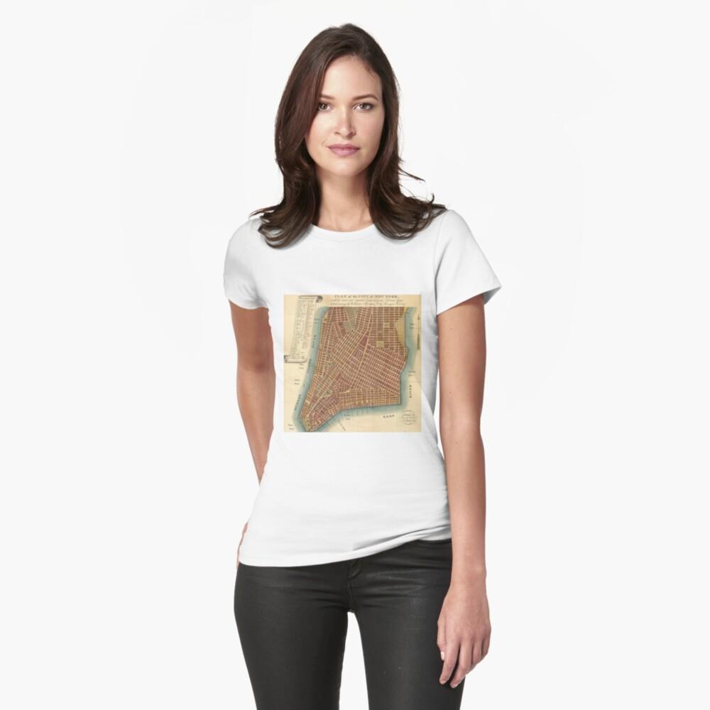 Camiseta para mujerVintage Map of Lower New York City (1807) Delante