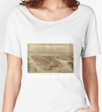 Camiseta ancha para mujer Vintage Pictorial Map of New York City (1874)