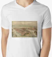 Camiseta para hombre de cuello en v Vintage Pictorial Map of New York City (1874)