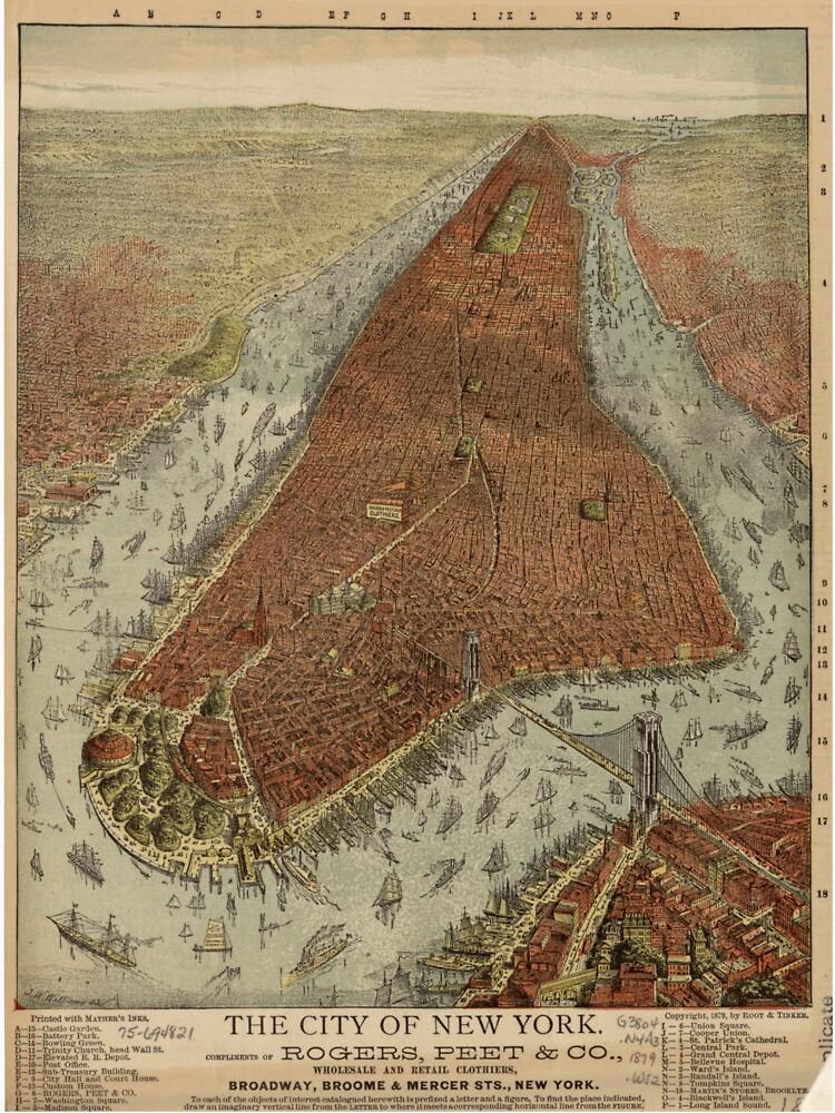 Vintage Pictorial Map of New York City (1879) 2 de BravuraMedia