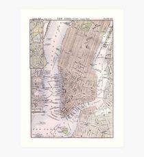 Lámina artística Mapa vintage de la ciudad de Nueva York (1884)