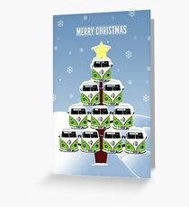 VW Camper Merry Christmas Tree Greeting Card