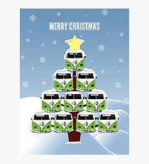VW Camper Merry Christmas Tree Photographic Print
