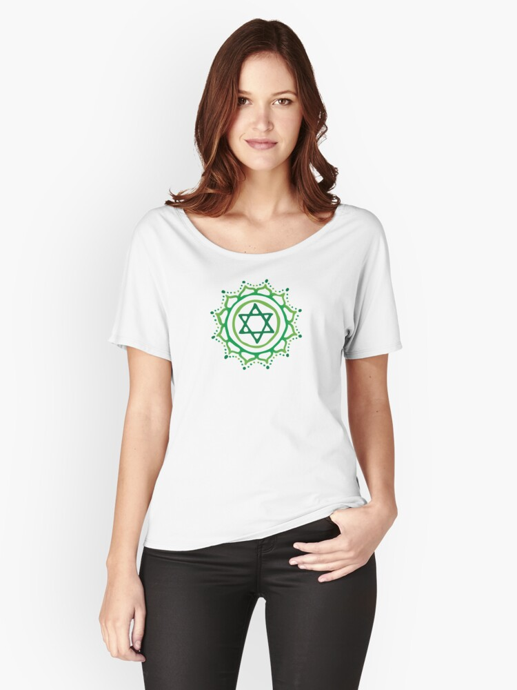 Heart chakra & jadeite stone Women's Relaxed Fit T-Shirt Front