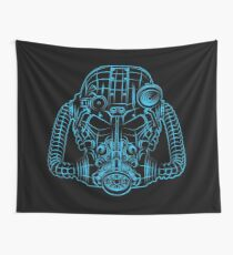 Power Wireframe Blue Wall Tapestry