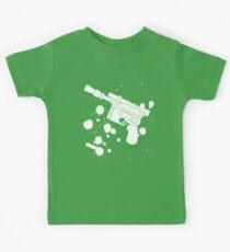 Han Solo Blaster Paint Splatter (White) Kids Tee