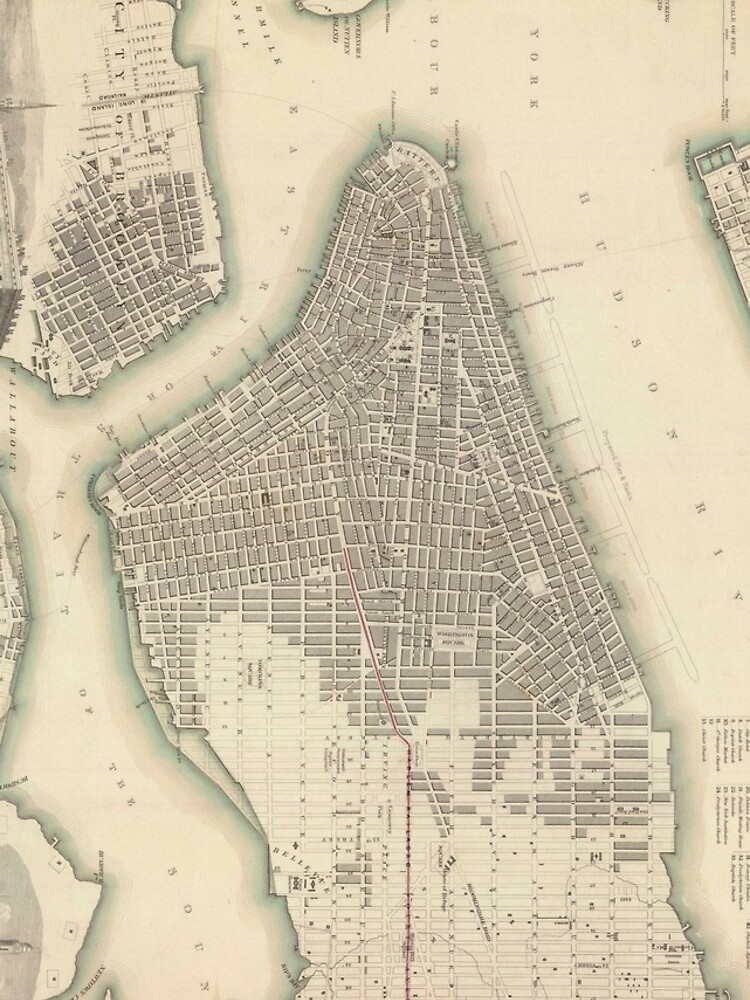 Vintage Map of Lower New York City (1840) de BravuraMedia