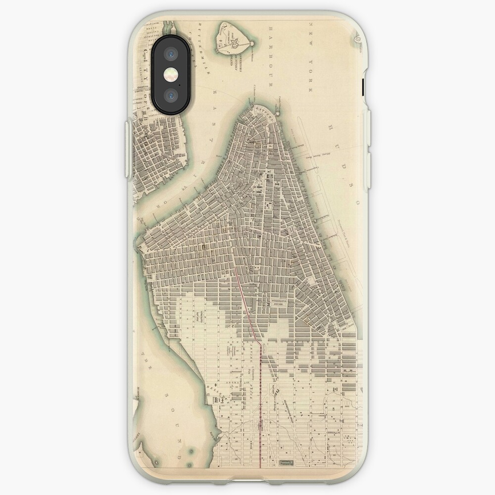 Vintage Map of Lower New York City (1840) Funda y vinilo para iPhone