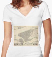 Camiseta entallada de cuello en V Vintage Map of Lower New York City (1840)