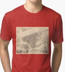 Camiseta de tejido mixto Vintage Map of Lower New York City (1840)
