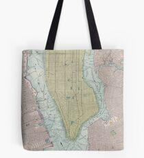 Bolsa de tela Mapa vintage de la ciudad de Nueva York (1901)