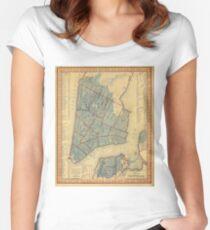 Camiseta entallada de cuello redondo Vintage Map of New York City (1846)