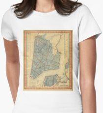 Camiseta entallada para mujer Vintage Map of New York City (1846)