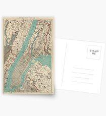 Postales Mapa vintage de la ciudad de Nueva York (1890)