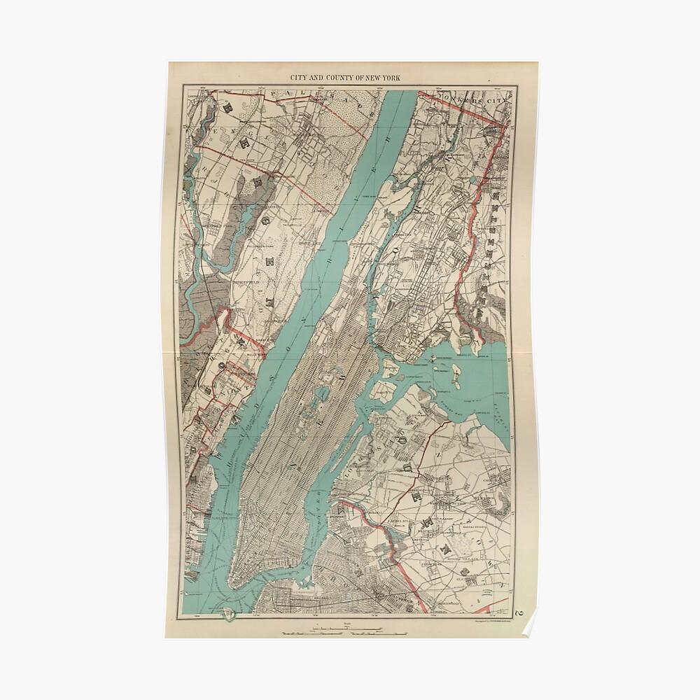 Mapa vintage de la ciudad de Nueva York (1890) Póster