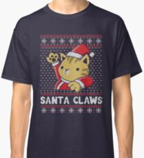 Weihnachtshässliche Strickjacke Katze Santa Claws Classic T-Shirt