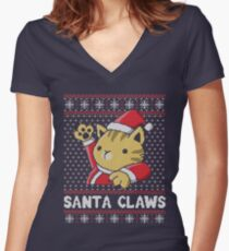 Xmas ugly sweater Cat Santa Claws Women's Fitted V-Neck T-Shirt
