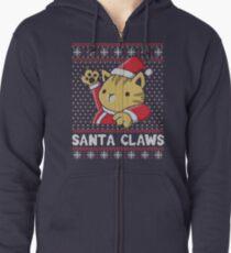 Xmas ugly sweater Cat Santa Claws Zipped Hoodie