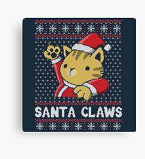 Xmas ugly sweater Cat Santa Claws Canvas Print