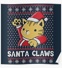 Pull moche de Noël Cat Santa Claws Poster