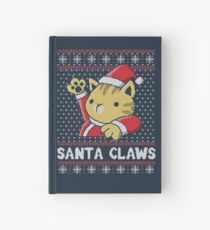 Xmas ugly sweater Cat Santa Claws Hardcover Journal