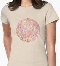 Glowing Coral and Amethyst Art Deco Pattern Womens Fitted T-Shirt