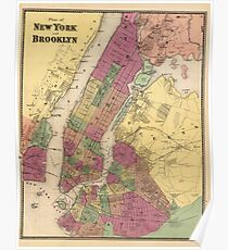Póster Vintage Map of NYC and Brooklyn (1868)