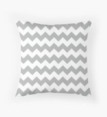 Modern Grey Chevron Pattern Throw Pillow