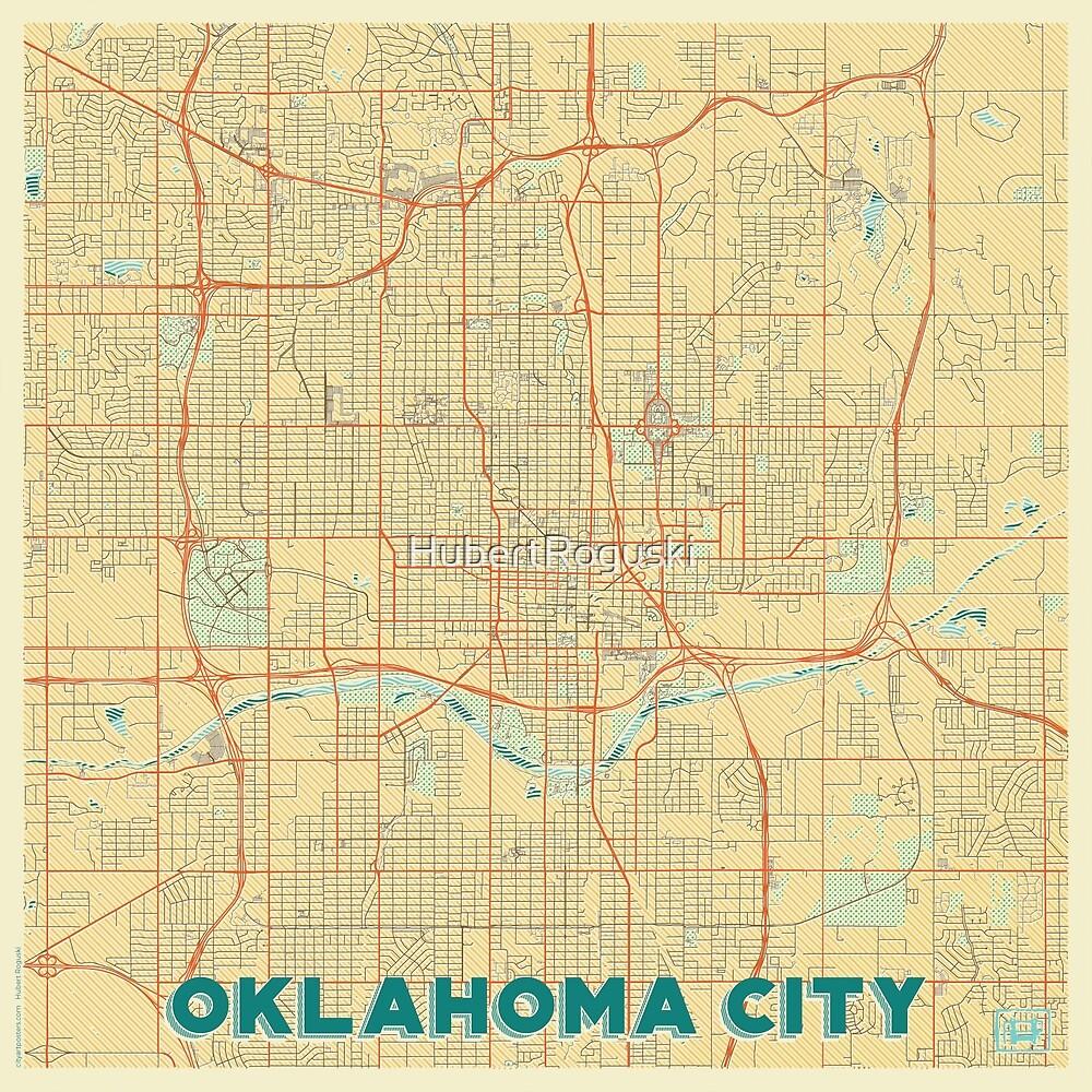 Oklahoma City Map Retro by HubertRoguski