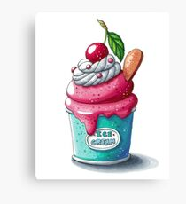Cherry ice cream cup Canvas Print