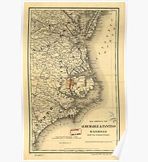 Vintage Map of The North Carolina Coast (1887) Poster