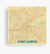 Fort Worth Map Retro Canvas Print