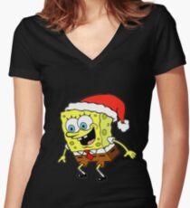 Spongebob Christmas Women's Fitted V-Neck T-Shirt