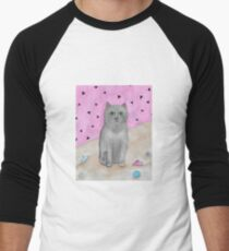 Bored Cat with Toys Men's Baseball ¾ T-Shirt