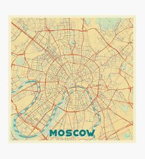 Moscow Map Retro Photographic Print