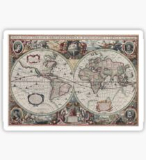 Vintage Map of The World (1630) Sticker