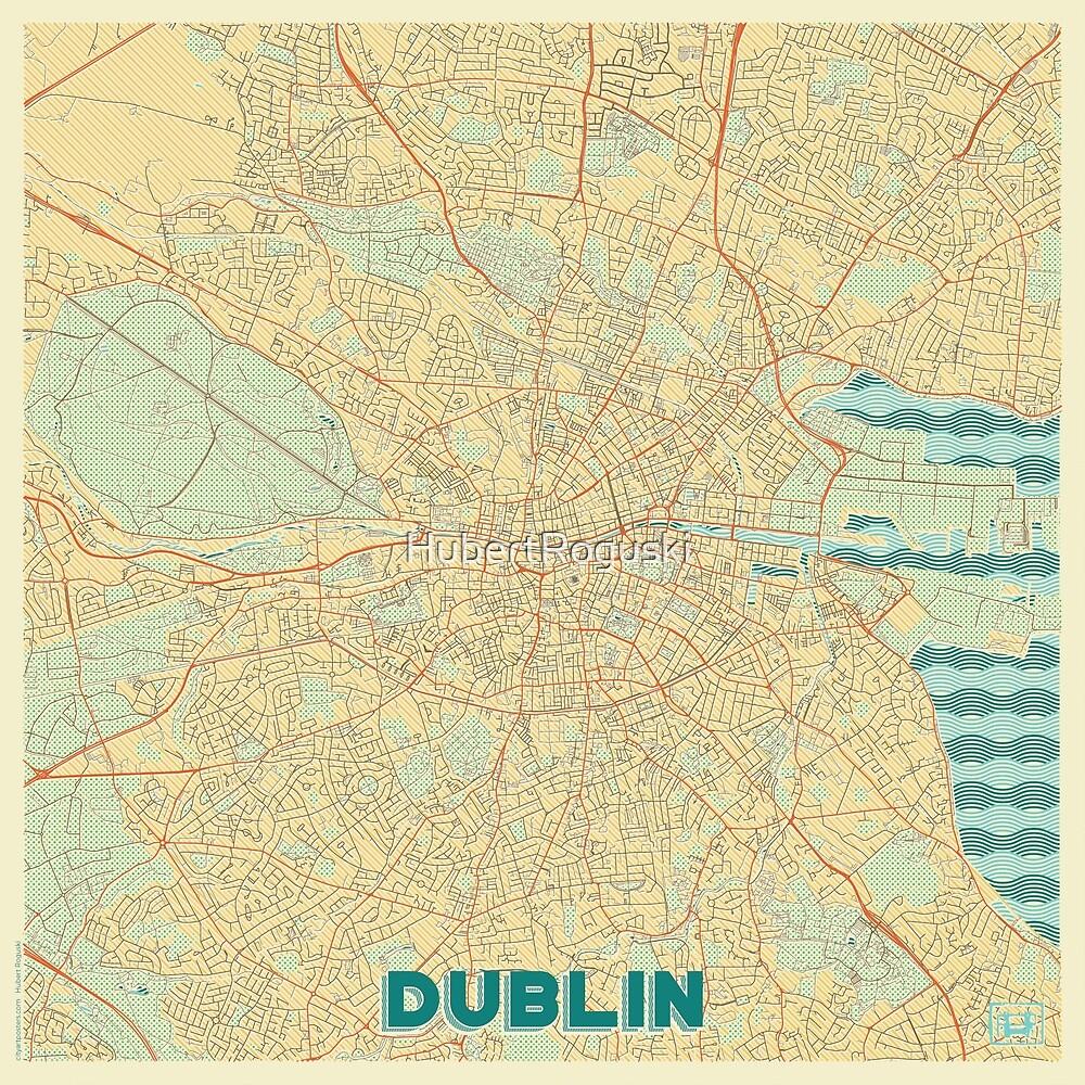 Dublin Map Retro by HubertRoguski