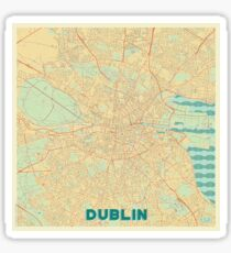 Dublin Map Retro Sticker