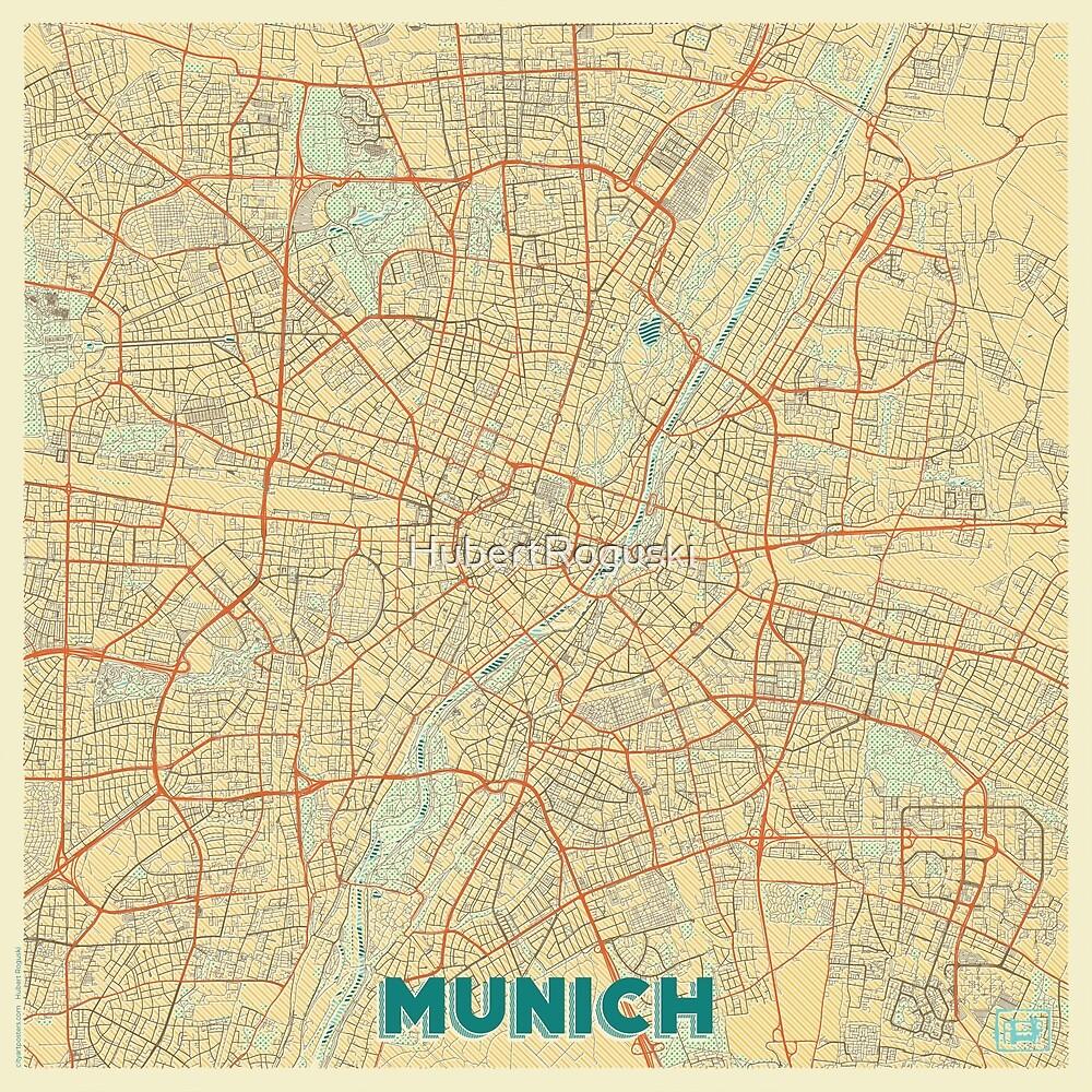 Munich Map Retro by HubertRoguski