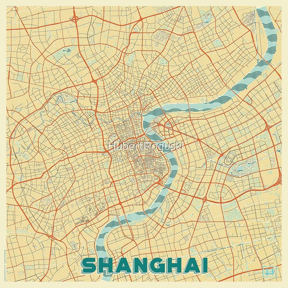 Shanghai Map Retro by HubertRoguski