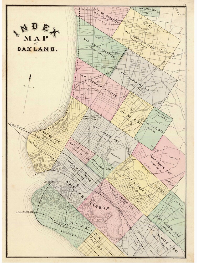 Vintage map of oakland california 1878 unisex t shirt by vintage map of oakland california 1878 by bravuramedia publicscrutiny Image collections