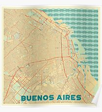 Buenos Aires Map Retro Poster
